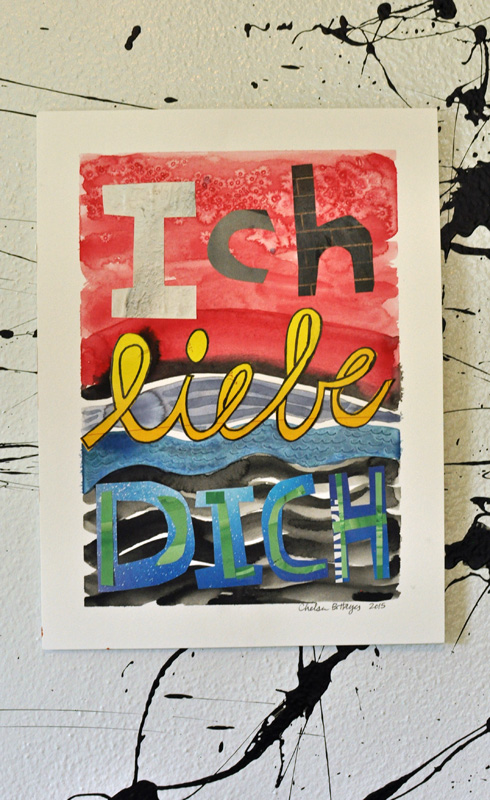 "Ich Liebe Dich, watercolor & collage on paper, 8 x 11"", July 2015."