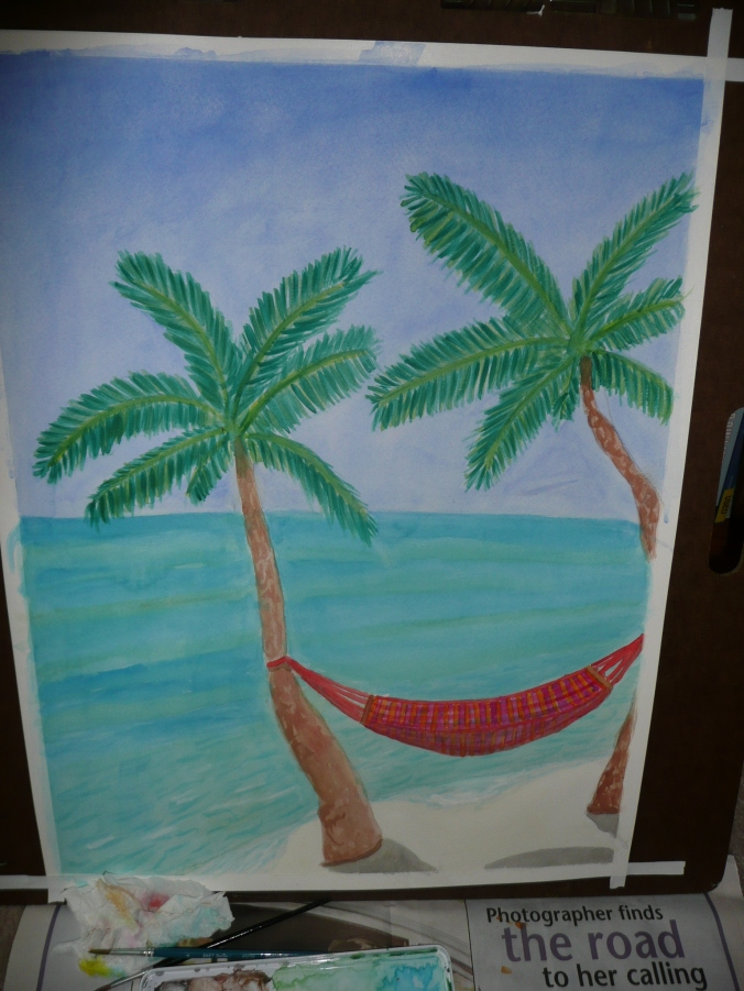"Hammock, watercolor on paper, 18 x 24"", July 2007."