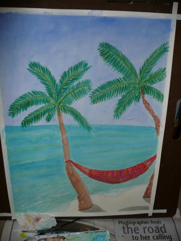 """Hammock, watercolor on paper, 18 x 24"""", July 2007."""